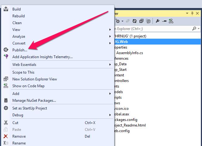 Publish options are in Visual Studio