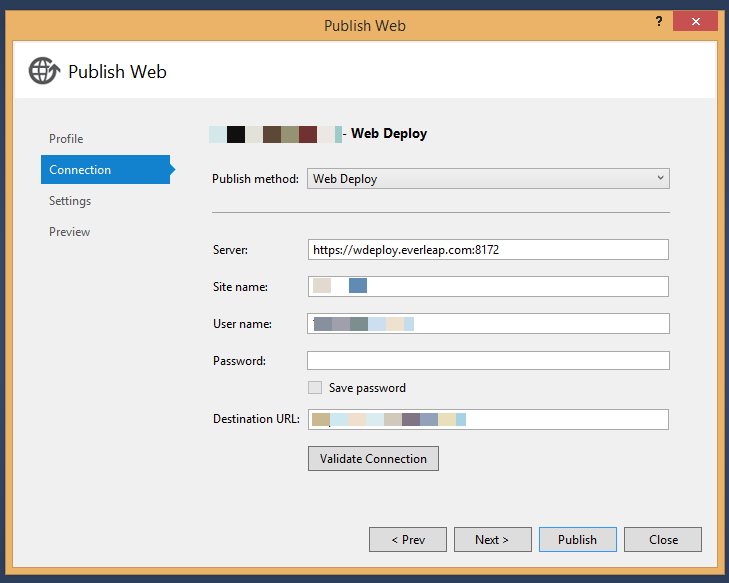 The Publish Web Dialog will import settings from Everleap